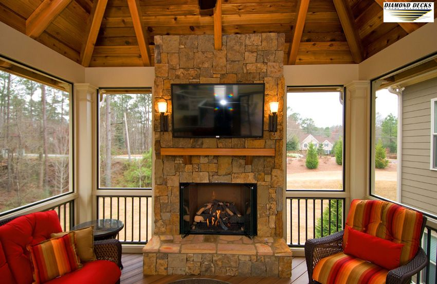 Fireplace inside Deck