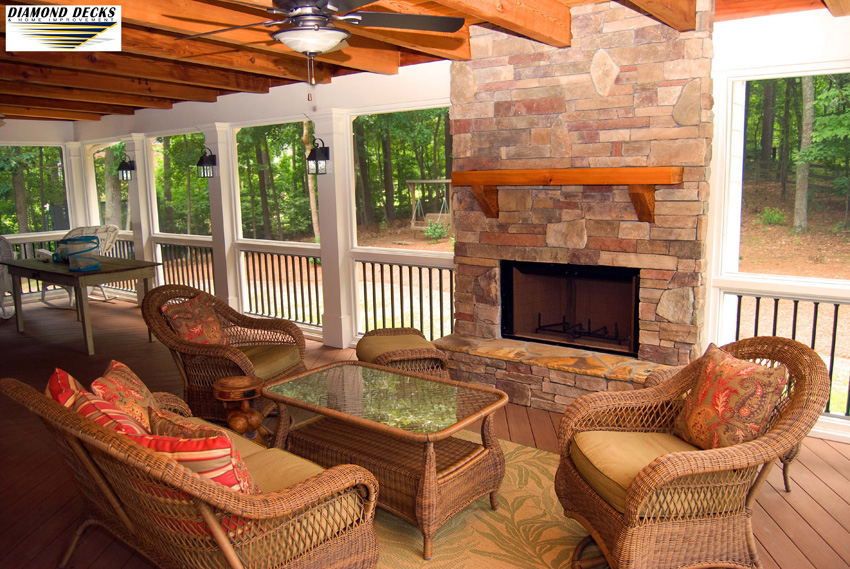 Custom Deck with Fireplace